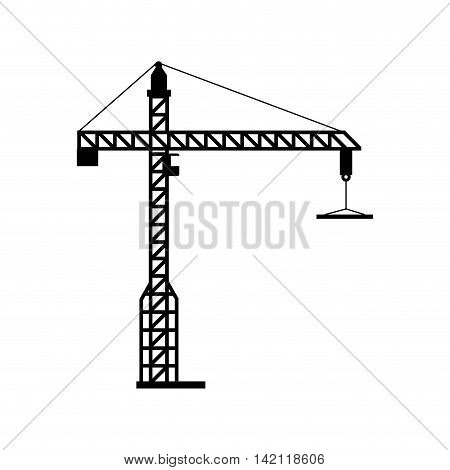 crane tower machinary hang hook construction industrial vector graphic isolated illustration