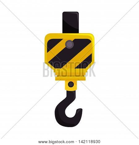 hook crane hang pull metal equipment work industry construction vector graphic isolated illustration