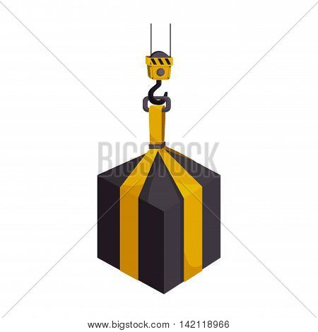 cargo hook hang hanging heavy object industry weight container vector graphic isolated illustration