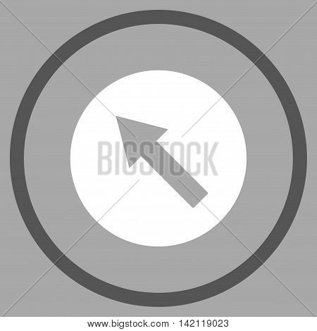 Up-Left Rounded Arrow vector icon. Style is bicolor flat rounded iconic symbol, up-left rounded arrow icon is drawn with dark gray and white colors on a silver background.