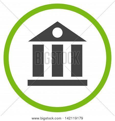 Bank Building vector icon. Style is bicolor flat rounded iconic symbol, bank building icon is drawn with eco green and gray colors on a white background.