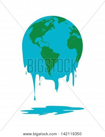flat design melting world icon vector illustration