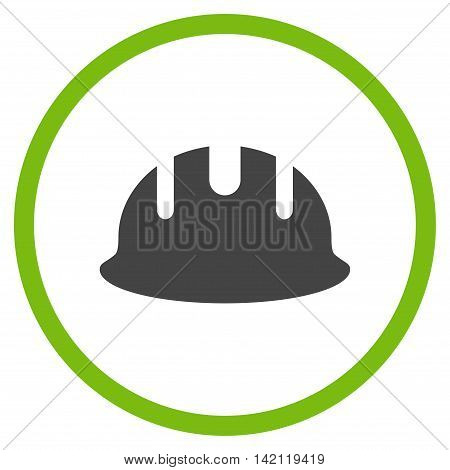 Builder Hardhat vector icon. Style is bicolor flat rounded iconic symbol, builder hardhat icon is drawn with eco green and gray colors on a white background.