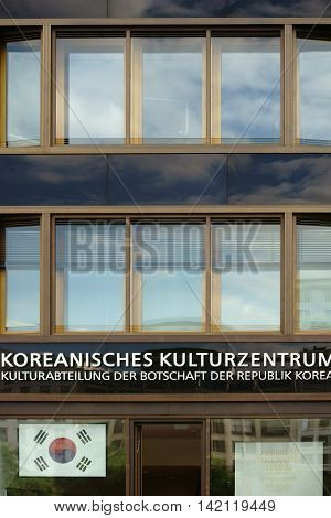BERLIN, GERMANY - JUNE 21: The entrance and the windows of the Korean Cultural Center of the Cultural Department of the Embassy of the Republic of Korea on June 21, 2016 in Berlin.