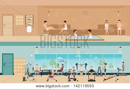 Set of people in fitness gym interior with equipment and sauna interior or steam room charactors flat design Vector illustration.