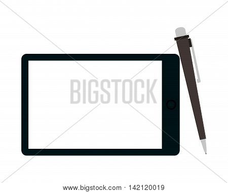 flat design tablet and pen icon vector illustration