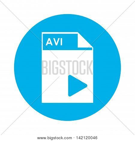flat design AVI file icon vector illustration