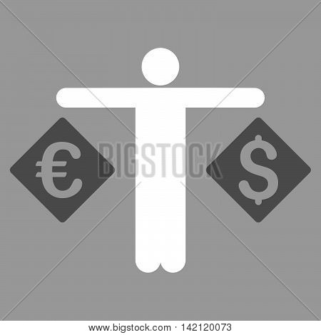 Currency Trader icon. Vector style is bicolor flat iconic symbol with rounded angles, dark gray and white colors, silver background.