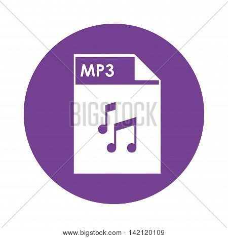 flat design mp3 file icon vector illustration