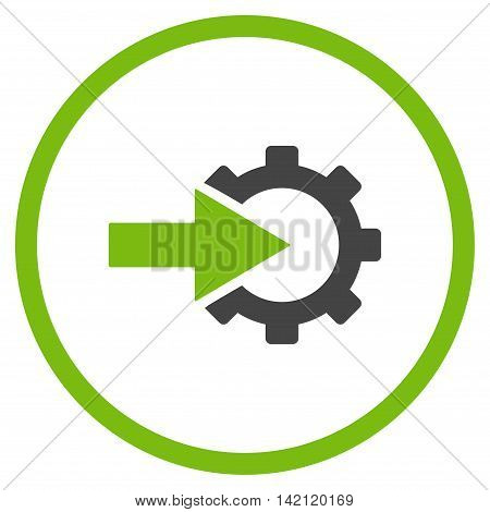 Cog Integration vector icon. Style is bicolor flat rounded iconic symbol, cog integration icon is drawn with eco green and gray colors on a white background.