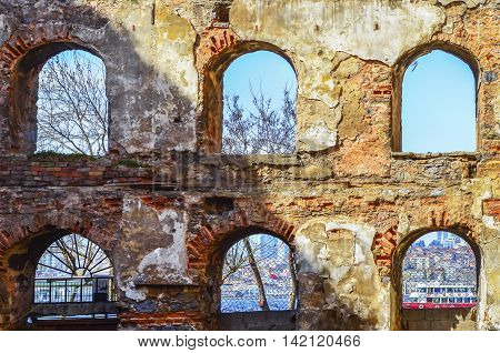 Old brick and stone walls the ruins of buildings. Background. The ruins of buildings built between 1798-1802 as a granary history in Istanbul.