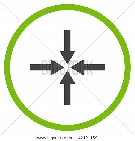 Impact Arrows vector icon. Style is bicolor flat rounded iconic symbol, impact arrows icon is drawn with eco green and gray colors on a white background.