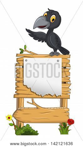 cute cartoon crow waving with blank board