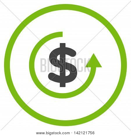 Refund vector icon. Style is bicolor flat rounded iconic symbol, refund icon is drawn with eco green and gray colors on a white background.