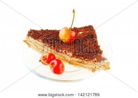 fresh cherry and cheese cake on transparent dish