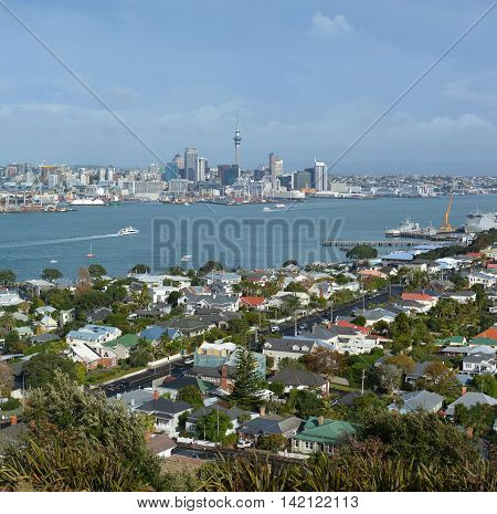 View from Mount Victoria Devonport towards Auckland City in the background with copy space. Royalty Free New Zealand.