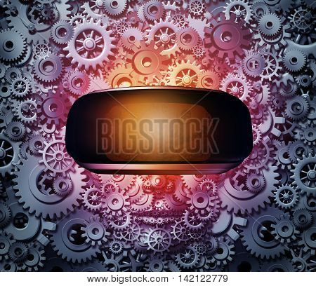 Virtual reality technology concept as a gamer made of cogwheels and machine gears wearing vr glasses or goggles with digital binary code as a futuristic technology symbol in simulated cyberspace as a 3D illustration.