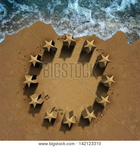 European union crisis and unity problems with beach sand shaped as the stars of the Europe flag eroding the economic and political structure causing membership stress as symbols for Greece Italy Spain Germany France and Britain brexit with 3D illustration