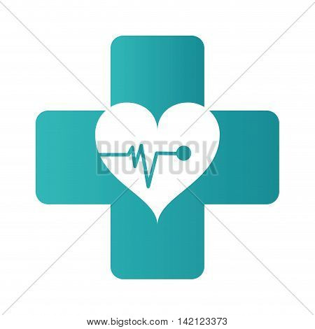 flat design medical cross with heart cardiogram icon vector illustration