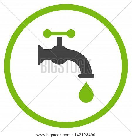 Water Tap vector icon. Style is bicolor flat rounded iconic symbol, water tap icon is drawn with eco green and gray colors on a white background.