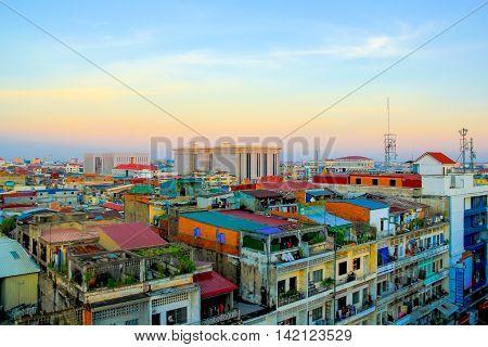 phnom Penh City in the Morning Cambodia