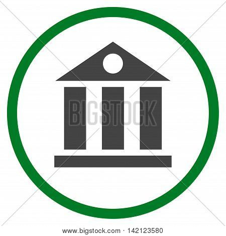 Bank Building vector icon. Style is bicolor flat rounded iconic symbol, bank building icon is drawn with green and gray colors on a white background.