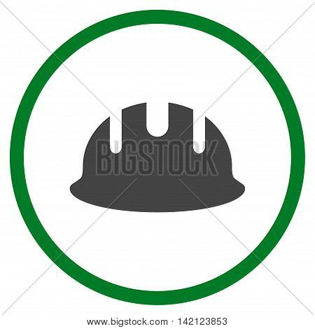 Builder Hardhat vector icon. Style is bicolor flat rounded iconic symbol, builder hardhat icon is drawn with green and gray colors on a white background.