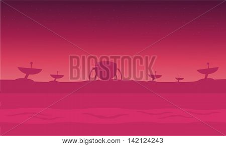 alien spacecraft in fog silhouettes vector illustration