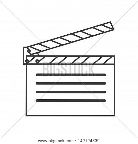 flat design open clapperboard icon vector illustration