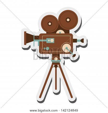 flat design retro film projector icon vector illustration