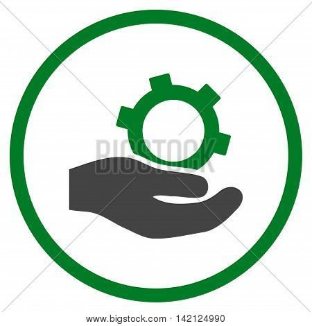 Engineering Service vector icon. Style is bicolor flat rounded iconic symbol, engineering service icon is drawn with green and gray colors on a white background.
