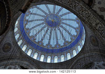 Dome skylight at Aya Sofia Mosque Istanbul Turkey