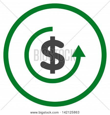 Refund vector icon. Style is bicolor flat rounded iconic symbol, refund icon is drawn with green and gray colors on a white background.