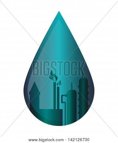flat design oil refinery in water drop icon vector illustration
