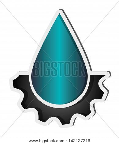 flat design water drop and gear icon vector illustration
