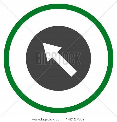 Up-Left Rounded Arrow vector icon. Style is bicolor flat rounded iconic symbol, up-left rounded arrow icon is drawn with green and gray colors on a white background.