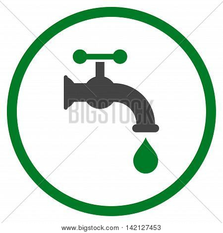 Water Tap vector icon. Style is bicolor flat rounded iconic symbol, water tap icon is drawn with green and gray colors on a white background.