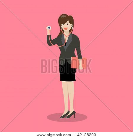Business woman holding stethoscope. Business concept vector illustration