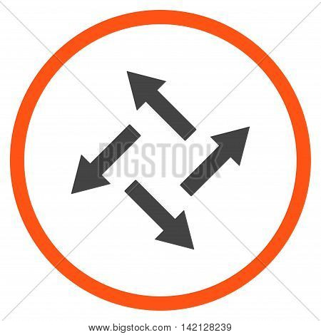 Centrifugal Arrows vector icon. Style is bicolor flat rounded iconic symbol, centrifugal arrows icon is drawn with orange and gray colors on a white background.