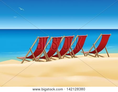 Five red deck chairs on the beautiful beach.