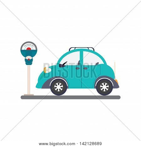 Car park with parking meter isolated on white background parking lot parking zone conceptual Vector Illustration.