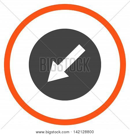 Down-Left Rounded Arrow vector icon. Style is bicolor flat rounded iconic symbol, down-left rounded arrow icon is drawn with orange and gray colors on a white background.
