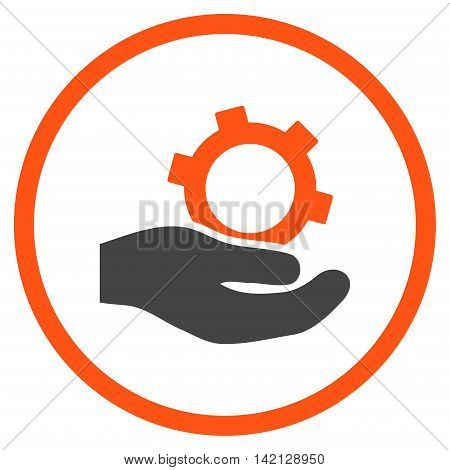 Engineering Service vector icon. Style is bicolor flat rounded iconic symbol, engineering service icon is drawn with orange and gray colors on a white background.