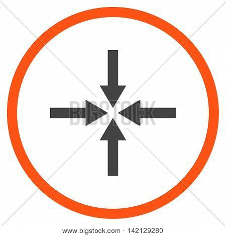 Impact Arrows vector icon. Style is bicolor flat rounded iconic symbol, impact arrows icon is drawn with orange and gray colors on a white background.