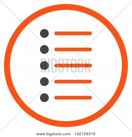 Items vector icon. Style is bicolor flat rounded iconic symbol, items icon is drawn with orange and gray colors on a white background.