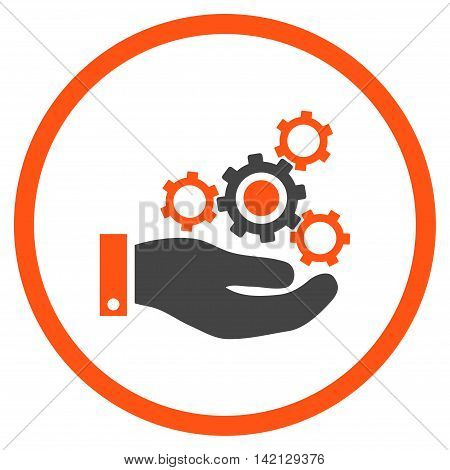 Mechanics Service vector icon. Style is bicolor flat rounded iconic symbol, mechanics service icon is drawn with orange and gray colors on a white background.