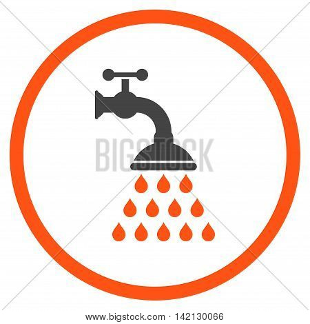 Shower Tap vector icon. Style is bicolor flat rounded iconic symbol, shower tap icon is drawn with orange and gray colors on a white background.