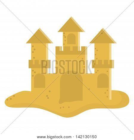 flat design cute sandcastle icon vector illustration