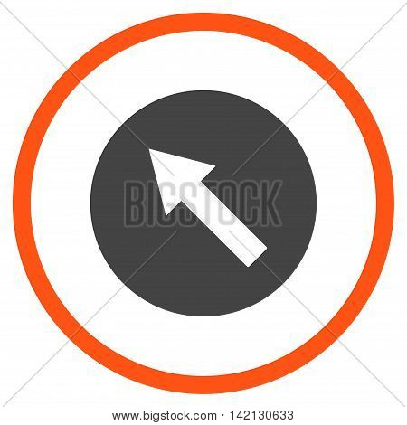 Up-Left Rounded Arrow vector icon. Style is bicolor flat rounded iconic symbol, up-left rounded arrow icon is drawn with orange and gray colors on a white background.