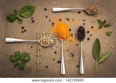 Herbs and spices selection in old metal spoons on tile dark vintage background